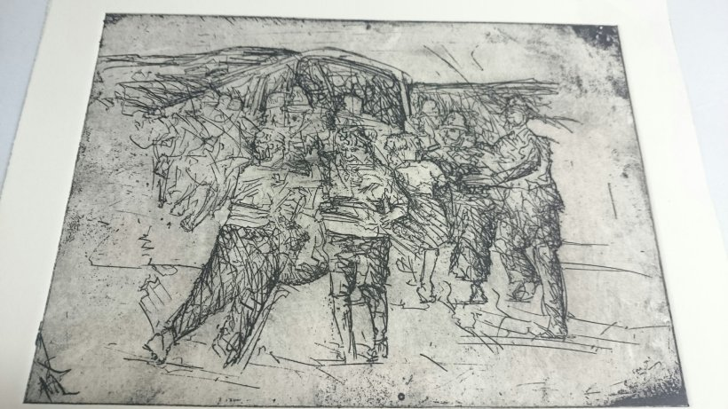 Etching of miners wives at riot